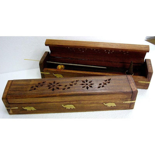 "Wooden Incense Holder - 12"" Rounded Lid - The Hippie House"
