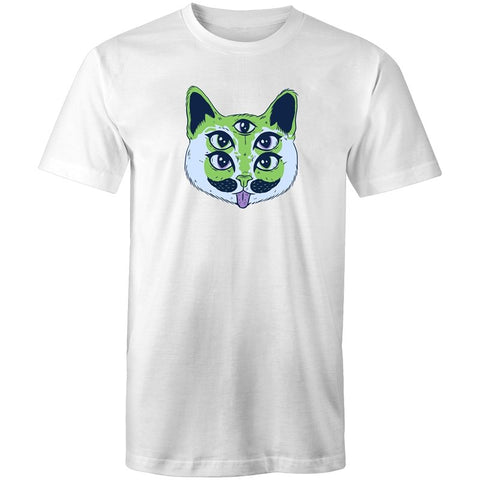 Men's Trippy Green Cat T-shirt - The Hippie House
