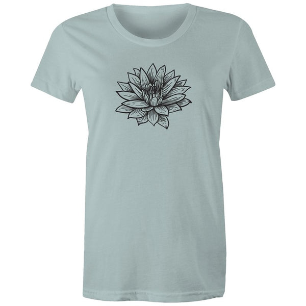 Women's Black Lotus Print T-shirt - The Hippie House