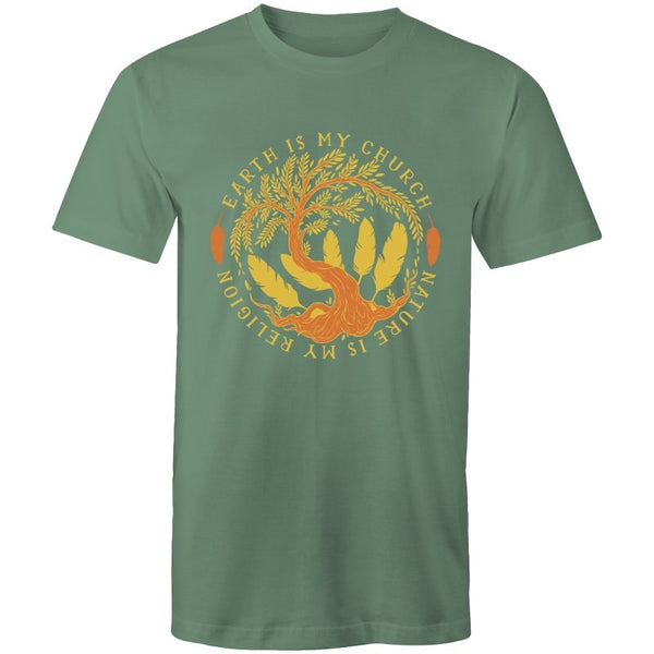 Men's Nature Earth Church T-shirt - The Hippie House
