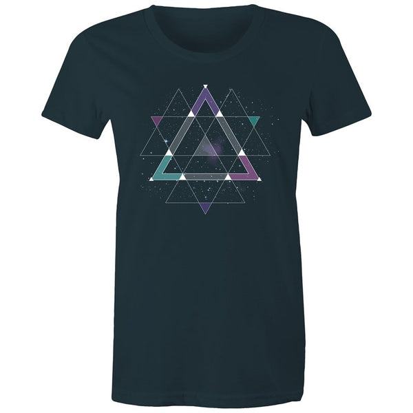 Women's Geometric Space T-shirt - The Hippie House