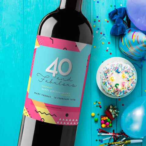 40th Birthday Wine Label with name and date