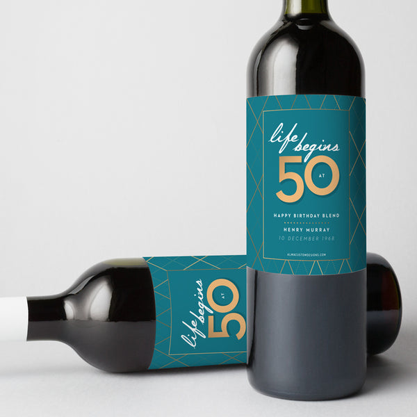 50th Birthday Wine Label with name and date