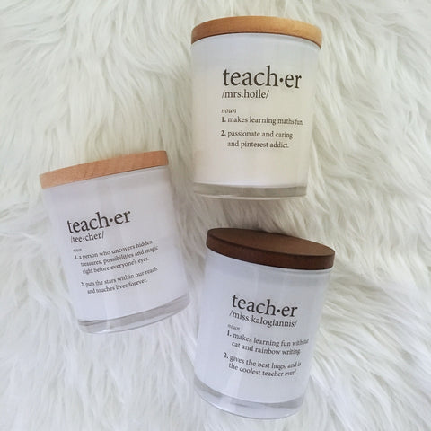 Teacher Custom Definition Candle
