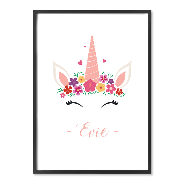 Unicorn Floral Custom Print with Name