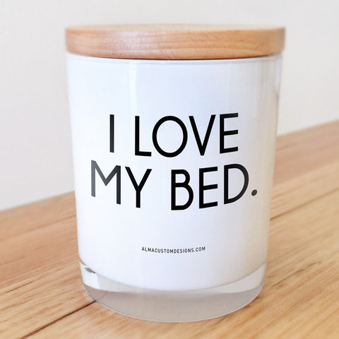 I Love my Bed Candle