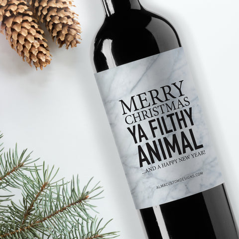 Merry Christmas Ya Filthy Animal Wine Label