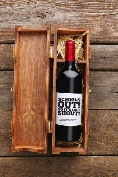 Schools Out! Wine Label with Custom Message