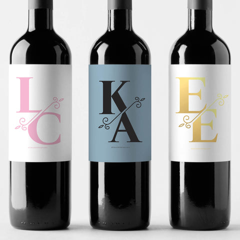 Monogram Split Custom Wine Label