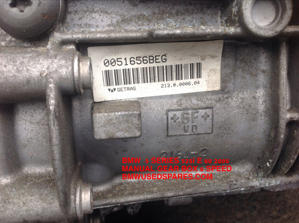 230075533513 BMW 3 SERIES 2006 335i N54B30 2006 MANUAL 6 SPEED GEAR BOX