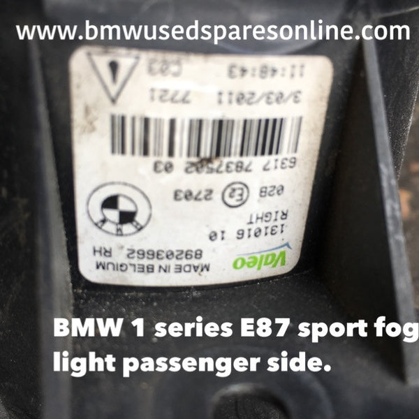 63176924655 BMW 1 SERIES 2008 PASSENGER SIDE M-SPORT FOG LIGHT
