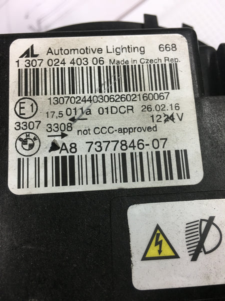 BMW M4 SERIES DRIVER SIDE Bi- XENON HEADLIGHT 7377846 NO BALLAST NO BULB