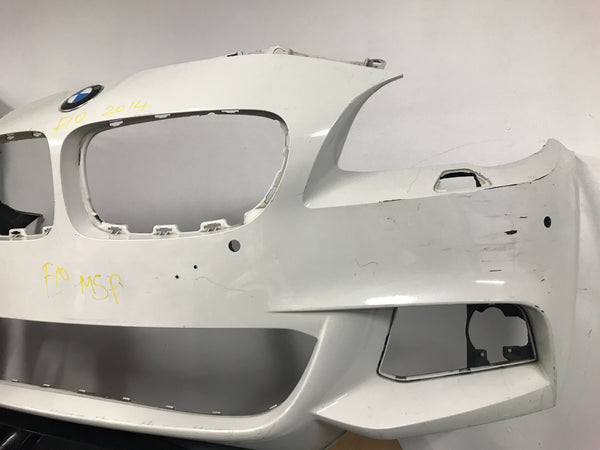 BMW  5 Series 2014 f10 front M-sport bumper in White needs respray 7846090