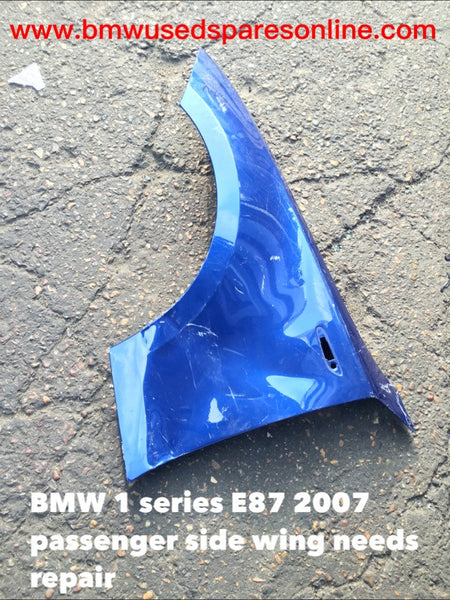 BMW 1 SERIES E 87  2007 PASSENGER SIDE WING NEEDS REPAIR