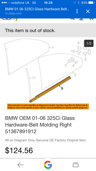 51367891912 BMW 3  2001 -2006 SERIES E46 QUATER GLASS OUTSIDE MOULDING
