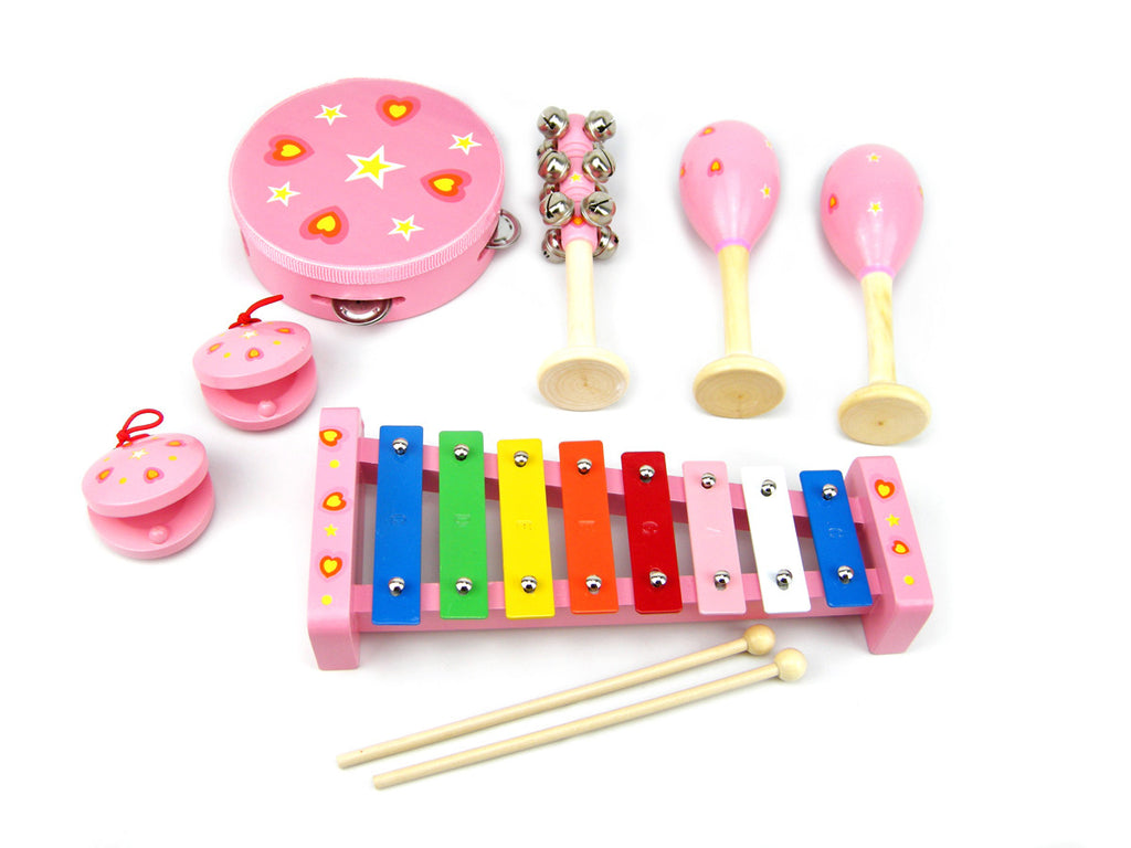 wooden music set orchestra 7 piece allebasi toys pink heart