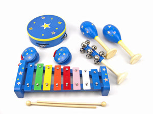 blue star music set wooden toys allebasi toys