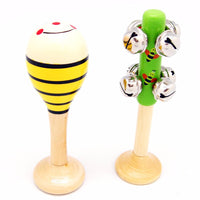 Wooden 2 Piece Music Set - Maraca & Bell Stick