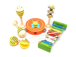 bee music set wooden toys allebasi toys
