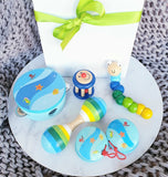 wooden toy musical gift box allebasi kids tambourine maraca bell stick castanets bendy worm free postage quality gift hamper box for newborn, baby shower, 1st birthday, 2nd birthday, 3rd birthday baby boy blue sea
