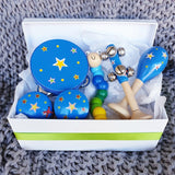 blue stars wooden toy musical gift box allebasi kids tambourine maraca bell stick castanets bendy worm free postage quality gift hamper box for newborn, baby shower, 1st birthday, 2nd birthday, 3rd birthday