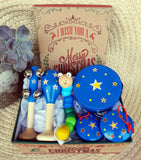 christmas gift box blue stars wooden toys musical