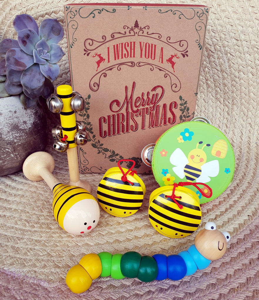 christmas gift box bumble bee wooden toys musical