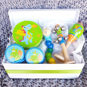 Dragon wooden toy musical gift box allebasi kids tambourine maraca bell stick castanets bendy worm free postage quality gift hamper box for newborn, baby shower, 1st birthday, 2nd birthday, 3rd birthday