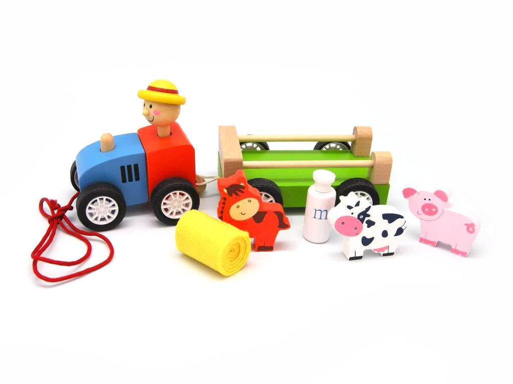 farm animal wooden tractor allebasi toys