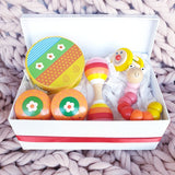 wooden toy musical gift box allebasi kids tambourine maraca bell stick castanets bendy worm free postage quality gift hamper box for newborn, baby shower, 1st birthday, 2nd birthday, 3rd birthday flower garden