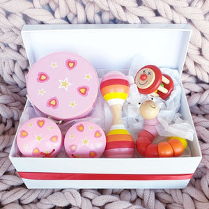 wooden toy musical gift box allebasi kids tambourine maraca bell stick castanets bendy worm free postage quality gift hamper box for newborn, baby shower, 1st birthday, 2nd birthday, 3rd birthday baby girl pink