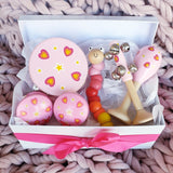wooden toy musical gift box allebasi kids tambourine maraca bell stick castanets bendy worm free postage quality gift hamper box for newborn, baby shower, 1st birthday, 2nd birthday, 3rd birthday pink hearts