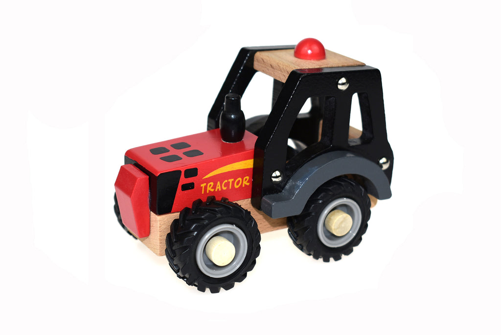 red tractor truck wooden toys allebasi kids