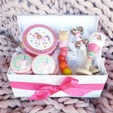 wooden toy musical gift box allebasi kids tambourine maraca bell stick castanets bendy worm free postage quality gift hamper box for newborn, baby shower, 1st birthday, 2nd birthday, 3rd birthday unicorn