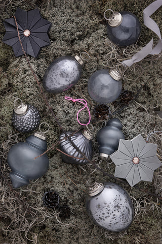 Christmas Tree Decorations in Grey and Silver