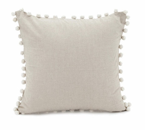 Taupe Chambray Cushion with Pom Pom Trim