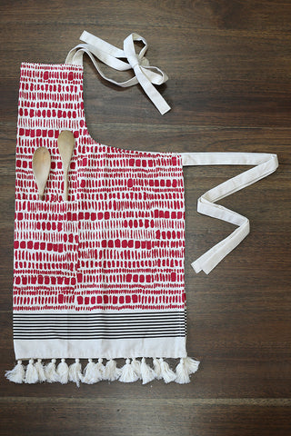 Spice Print Apron - Red