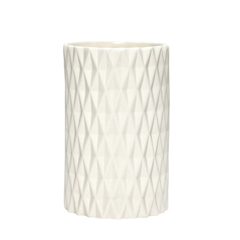 White Ceramic Vase with Pattern