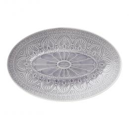 Large Stoneware Platter in Light Mushroom Grey