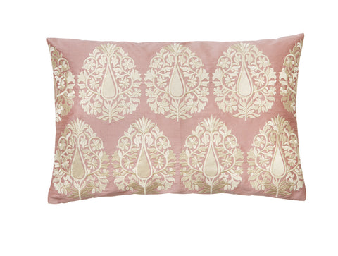 Nude Pink Embroidered Cushion