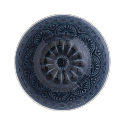 Dark Blue Patterned Stonewear Bowl Medium