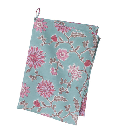 Pink and Turquoise Flower Print Tea towel