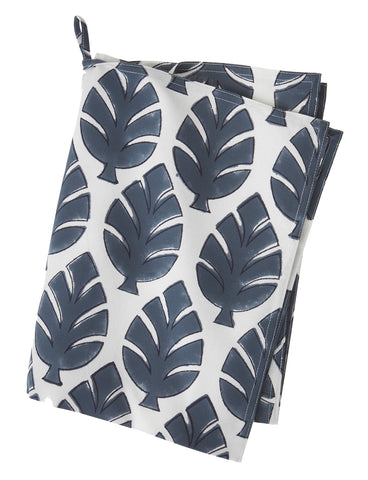 Large leaf print cotton tea towel in blue