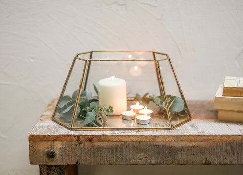 Geometric Brass & Glass Lantern