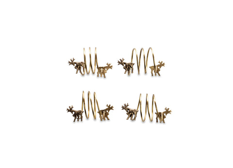 Stag Brass Napkin Rings - Set of Four