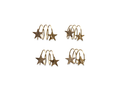 Star Brass Napkin Rings - Set of Four