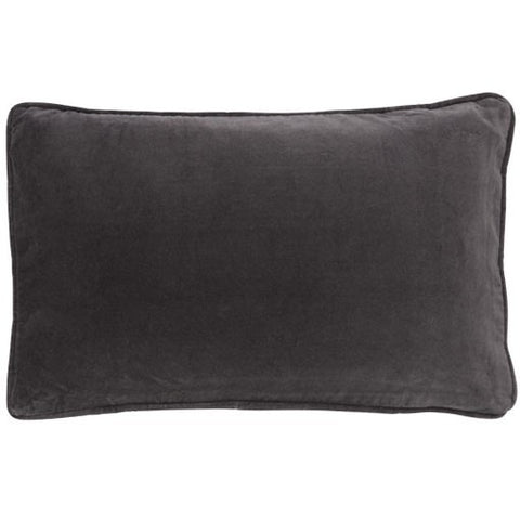 Grey Velvet Button Closure Cushion