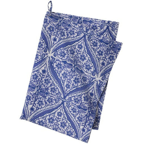 Provencal printed cotton tea towel in blue