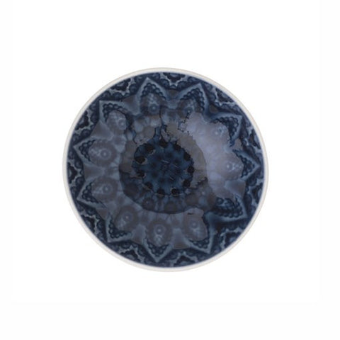 Dark Blue Patterned Stoneware Bowl in Small