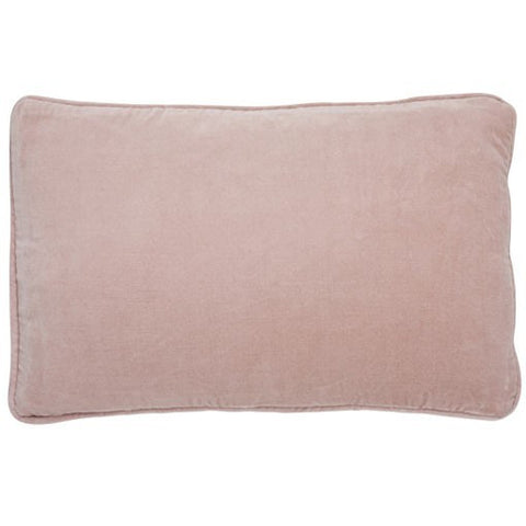 Nude Pink Velvet Button Closure Cushion